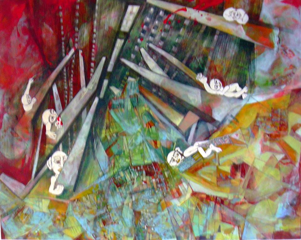 paesaggi paralleli6 1mx1m tec mist su tela