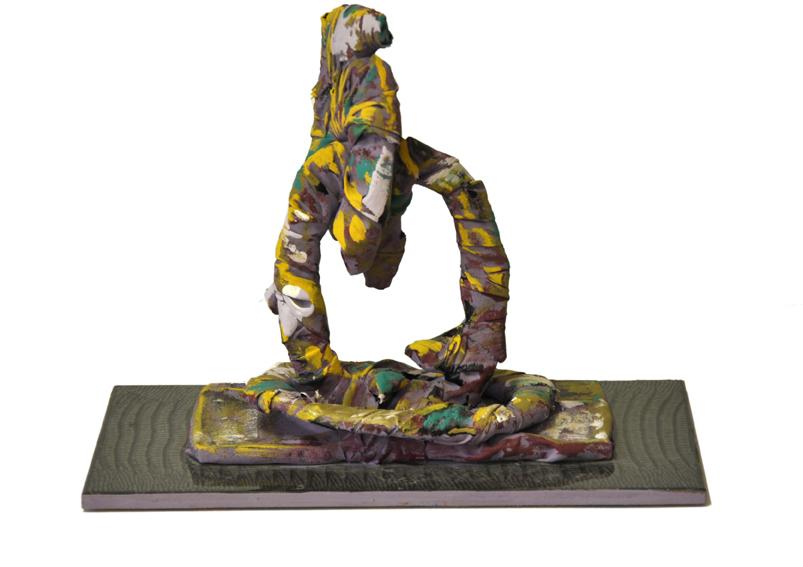 scultura cartone resina policromo,15x10x15cm