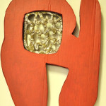scultura cartone, resina policromo,60x90x6cm