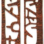 scultura cartone ,resina,1,15x32cm;1,15x32cm