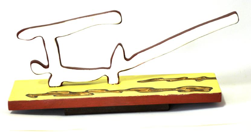 scultura, legno policromo,36x10x18cm